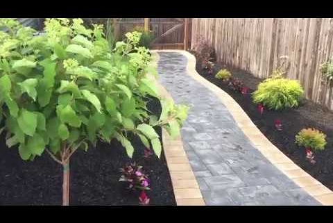 West Babylon, NY 11704   Cambridge Paver Patio with Inlays and Landscaping